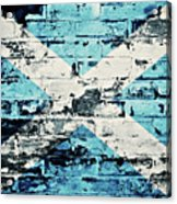 flag of Scotland painted on old brick wall Acrylic Print