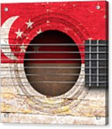 Flag Of Singapore On An Old Vintage Acoustic Guitar Acrylic Print