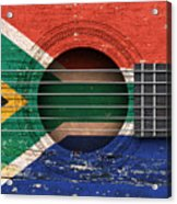 Flag Of South Africa On An Old Vintage Acoustic Guitar Acrylic Print