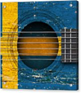 Flag Of Sweden On An Old Vintage Acoustic Guitar Acrylic Print