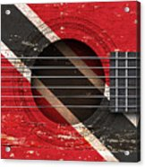 Flag Of Trinidad And Tobago On An Old Vintage Acoustic Guitar Acrylic Print