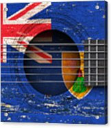 Flag Of Turks And Caicos On An Old Vintage Acoustic Guitar Acrylic Print