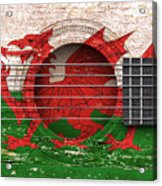 Flag Of Wales On An Old Vintage Acoustic Guitar Acrylic Print