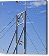 Flag On Perkins Cove Bridge - Maine Acrylic Print