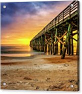 Flagler Beach Pier At Sunrise In Hdr Acrylic Print