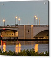 Flagler Bridge In Lights Panorama Acrylic Print
