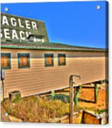 Flagler Pier Postcard Acrylic Print by Andrew Armstrong  -  Mad Lab Images