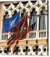 Flags On Palazzo In Venice Acrylic Print