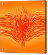 Flaming Heart Acrylic Print by David Kyte