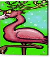 Flamingo Reindeer Acrylic Print