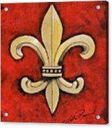 Fleur De Lies Red Background Acrylic Print
