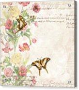Fleurs De Pivoine - Watercolor W Butterflies In A French Vintage Wallpaper Style Acrylic Print