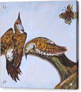 Flickers Dancing Wild Animal Vignette From River Mural Acrylic Print
