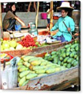 Floating Market In Thailand Acrylic Print