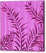 Flora Fauna Tropical Abstract Leaves Painting Magenta Splash By Megan Duncanson Acrylic Print