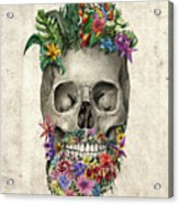 Floral Beard Skull Acrylic Print