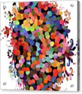 Floral Bouquet Abstract With Dots Acrylic Print