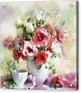 Floral Bouquet Table Setting In Tiny Bubbles Acrylic Print