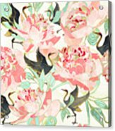Floral Cranes Acrylic Print