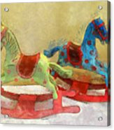 Floral Rocking Horses Acrylic Print