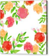 Floral Watercolor Border  Acrylic Print