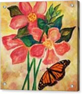 Floral With Butterfly Acrylic Print
