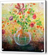Floral With Eastern Tapestry Acrylic Print