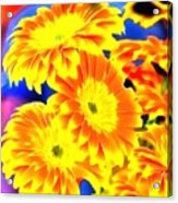 Floral Yellow Painting Lit Acrylic Print