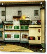 Florence - Boats Under The Ponte Vecchio Sunset - Untextured Acrylic Print