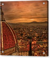 Florence Duomo At Sunset Acrylic Print by McDonald P. Mirabile