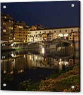 Florence Italy Night Magic - A Glamorous Evening At Ponte Vecchio Acrylic Print