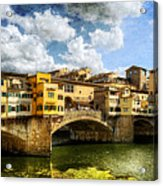 Florence -  Ponte Vecchio From The Northwestern Bank - Vintage Acrylic Print