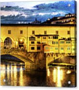 Florence - Ponte Vecchio Sunset From The Oltrarno - Vintage Version Acrylic Print