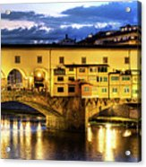 Florence - Ponte Vecchio Sunset From The Oltrarno Acrylic Print