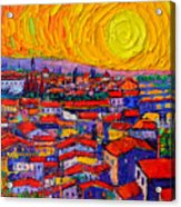 Florence Sunset 10 Modern Impressionist Abstract City Knife Oil Painting Ana Maria Edulescu Acrylic Print