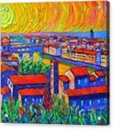 Florence Sunset 4 Modern Impressionist Abstract City Impasto Knife Oil Painting Ana Maria Edulescu Acrylic Print