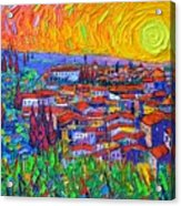 Florence Sunset 7 Modern Impressionist Abstract City Impasto Knife Oil Painting Ana Maria Edulescu Acrylic Print