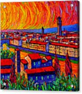 Florence Sunset 9 Modern Impressionist Abstract City Impasto Knife Oil Painting Ana Maria Edulescu Acrylic Print
