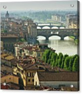 Florence. View Of Ponte Vecchio Over River Arno. Acrylic Print