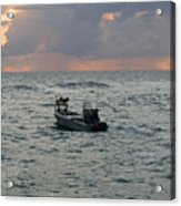 Florida Lobstermen At Dawn Acrylic Print