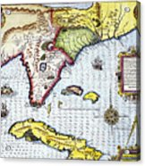 Florida: Map, 1591 Acrylic Print