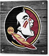 Florida State University Seminoles Logo On Weathered Wood Acrylic Print