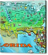 Florida Usa Cartoon Map Acrylic Print