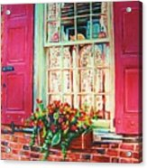 Flower Box  And Pink Shutters Acrylic Print