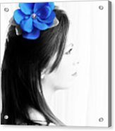 Flower Girl Blue Selective Colour Acrylic Print