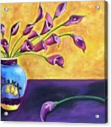 Flowers In Blue Vase Acrylic Print