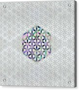 Flower Of Life Abalone Shell On Pearl Acrylic Print