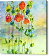 Flower Patch With Butterfly Acrylic Print