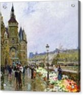 Flower Sellers By The Seine Acrylic Print