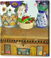 Flowers And Antique Chest Acrylic Print